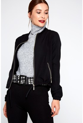 FullaModa 18KTURKUVAZ0011 Kadın Fermuarlı Ceket Siyah