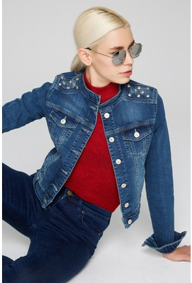 FullaModa 18KDİLVİN0009 Kadın Kot Ceket Blue