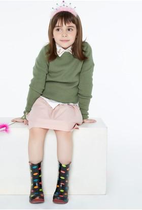 FullaModa 18KEMIREY0061 Kız Çocuk Kız Çocuk Fitilli Kazak Haki
