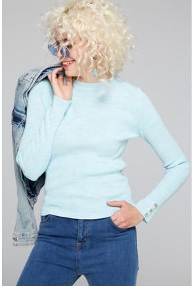 FullaModa 18KEMIREY0031 Kadın Fitilli Kazak Mint