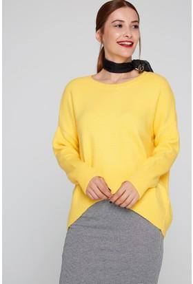 FullaModa 18KEMIREY0028 Kadın Salaş Kazak Sarı