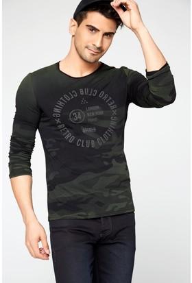 FullaModa 18MRETRO0002 Erkek Baskılı Sweatshirt Siyah