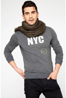 FullaModa 18MRETRO0011 Erkek Baskılı Sweatshirt Antrasit