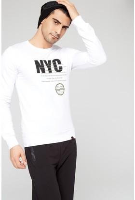 FullaModa 18MRETRO0011 Erkek Baskılı Sweatshirt Beyaz