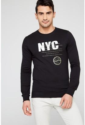 FullaModa 18MRETRO0011 Erkek Baskılı Sweatshirt Siyah