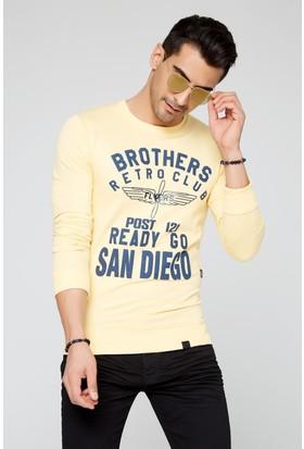 FullaModa 18MRETRO0012 Erkek Baskılı Sweatshirt Sarı