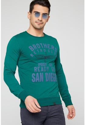 FullaModa 18MRETRO0012 Erkek Baskılı Sweatshirt Yeşil
