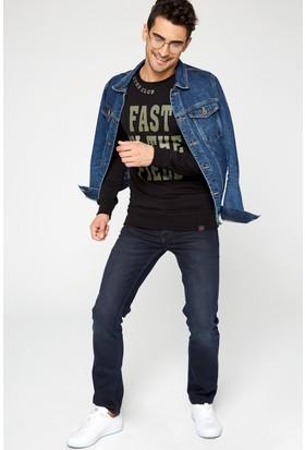 FullaModa 18MRETRO0013 Erkek Baskılı Sweatshirt Siyah