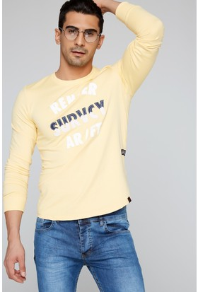 FullaModa 18MRETRO0010 Erkek Nakışlı Sweatshirt Sarı