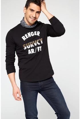 FullaModa 18MRETRO0010 Erkek Nakışlı Sweatshirt Siyah