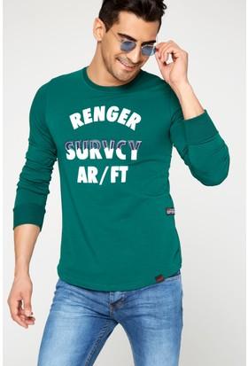 FullaModa 18MRETRO0010 Erkek Nakışlı Sweatshirt Yeşil