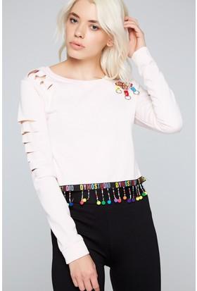 FullaModa 18KLSK0007 Kadın Kol Detaylı Sweatshirt Pembe