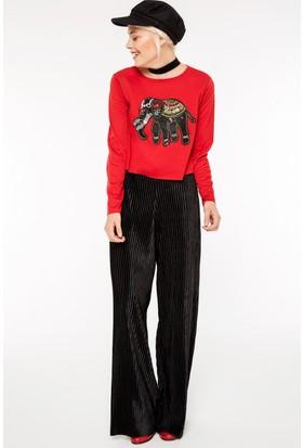 FullaModa 18KLSK0005 Kadın Nakışlı Sweatshirt Kırmızı