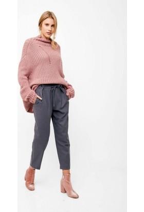 Önü Bağlamalı Cepli Yüksek Bel Pantolon
