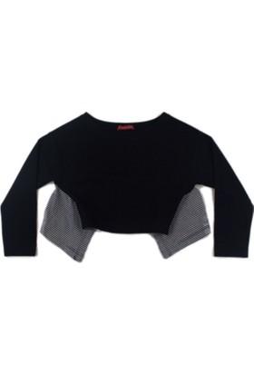 Karamela Arkası Büzgülü Sweatshirt, Zebra Siyah Çizgili