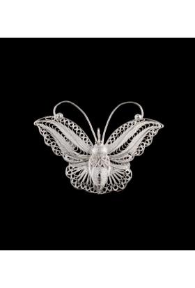 Akyüz Gümüş Kelebek İşlemeli Telkari Gümüş Broş Brs022