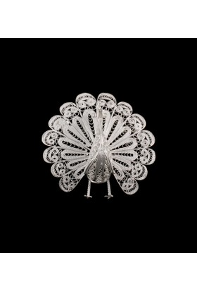 Akyüz Gümüş Tavus Kuşu İşlemeli Telkari Gümüş Broş Brs025