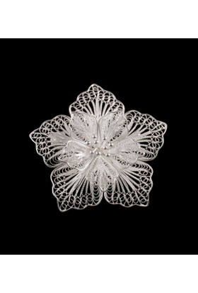 Akyüz Gümüş Papatya İşlemeli Telkari Gümüş Broş Brs026