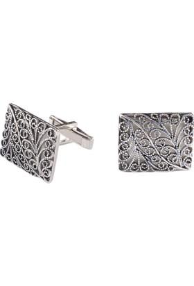Akyüz Gümüş Telkari Gümüş Kol Düğmesi Kdm019