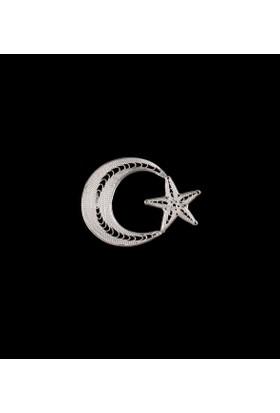 Akyüz Gümüş Ay Yıldız Telkari Gümüş Rozet Akse011