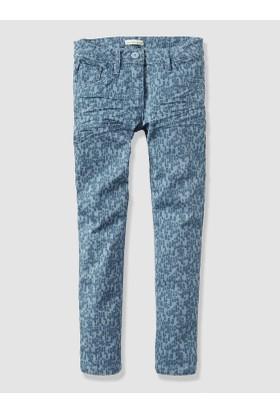 Vertbaudet Kız Çocuk Desenli Kot Pantolon
