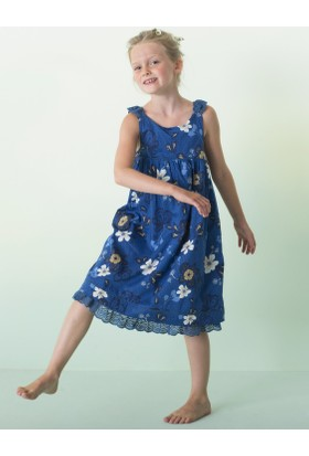 Vertbaudet Kız Çocuk Mavi Askılı Elbise
