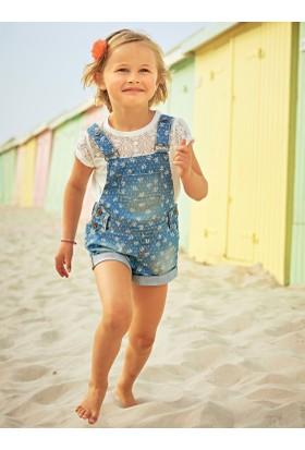 Vertbaudet Kız Çocuk Desenli Kot Şort Salopet