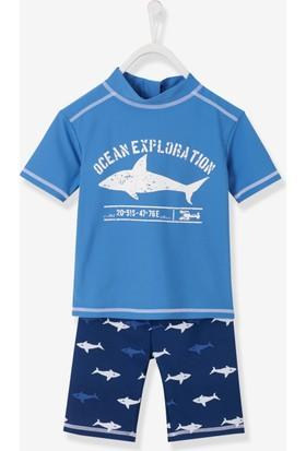 Vertbaudet Erkek Çocuk Mavi Uv Tshirt - Şort Set