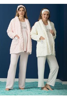 Haluk Bayram Lohusa Polar Sabahlıklı Pijama Takım 3229B Ekru