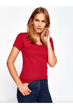 Koton Kadın Oyuk Yaka T-Shirt Bordo