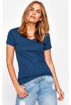 Koton Kadın V Yaka T-Shirt Lacivert