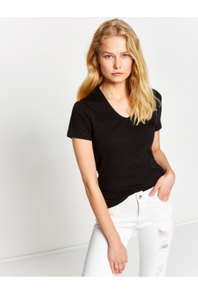Koton Kadın V Yaka T-Shirt Siyah