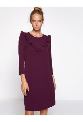 Koton Kadın Fırfır Detaylı Elbise Mor
