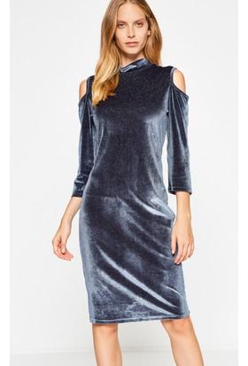 Koton Kadın Kadife Elbise Gri