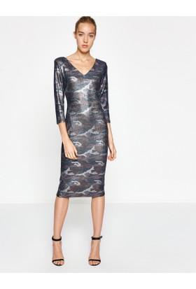 Koton Kadın Kamuflaj Desenli Elbise Mor