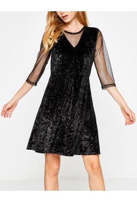 Koton Kadın Tül Detaylı Elbise Siyah