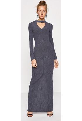 Koton Kadın Yaka Detaylı Elbise Gri