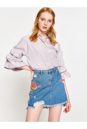 Koton Kadın Fırfır Detaylı Gömlek Mor