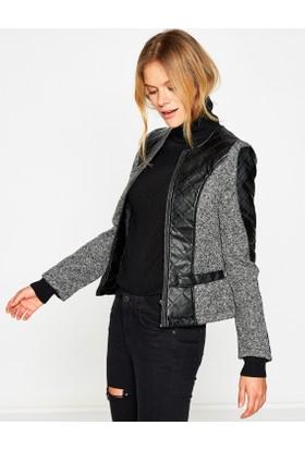 Koton Kadın Deri Detaylı Ceket Siyah