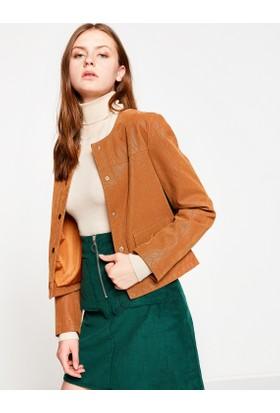 Koton Kadın Deri Görünümlü Ceket Kahverengi