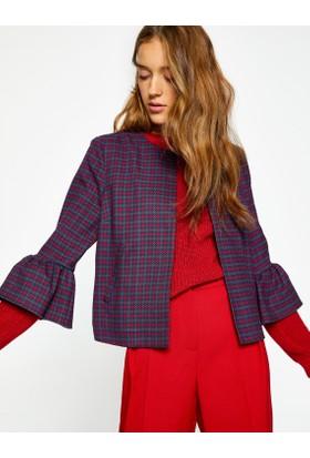 Koton Kadın Kareli Ceket Lacivert