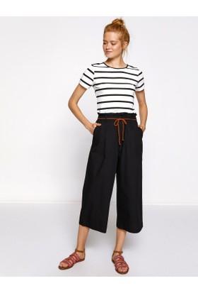 Koton Kadın Beli Bağcıklı Pantolon Siyah