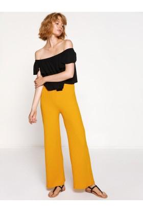 Koton Kadın Çizgili Pantolon Sarı