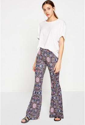 Koton Kadın Desenli Pantolon Siyah