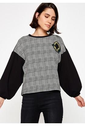Koton Kadın Boncuk İşlemeli Sweatshirt Siyah
