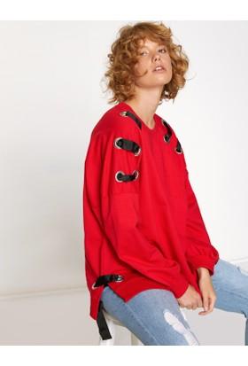 Koton Kadın Omuz Detaylı Sweatshirt Kırmızı