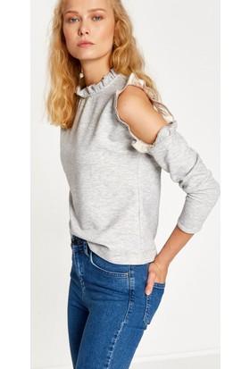 Koton Kadın Omzu Açık Sweatshirt Gri
