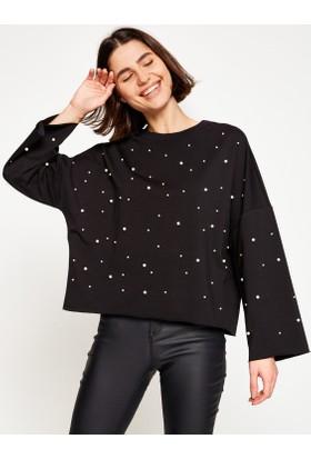 Koton Kadın Puantiye Detaylı Sweatshirt Siyah