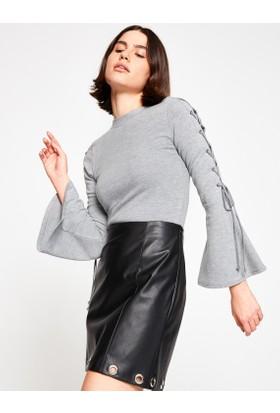 Koton Kadın Yüksek Yaka Sweatshirt Gri