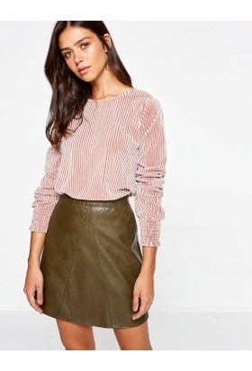 Koton Kadın Çizgili T-Shirt Pembe